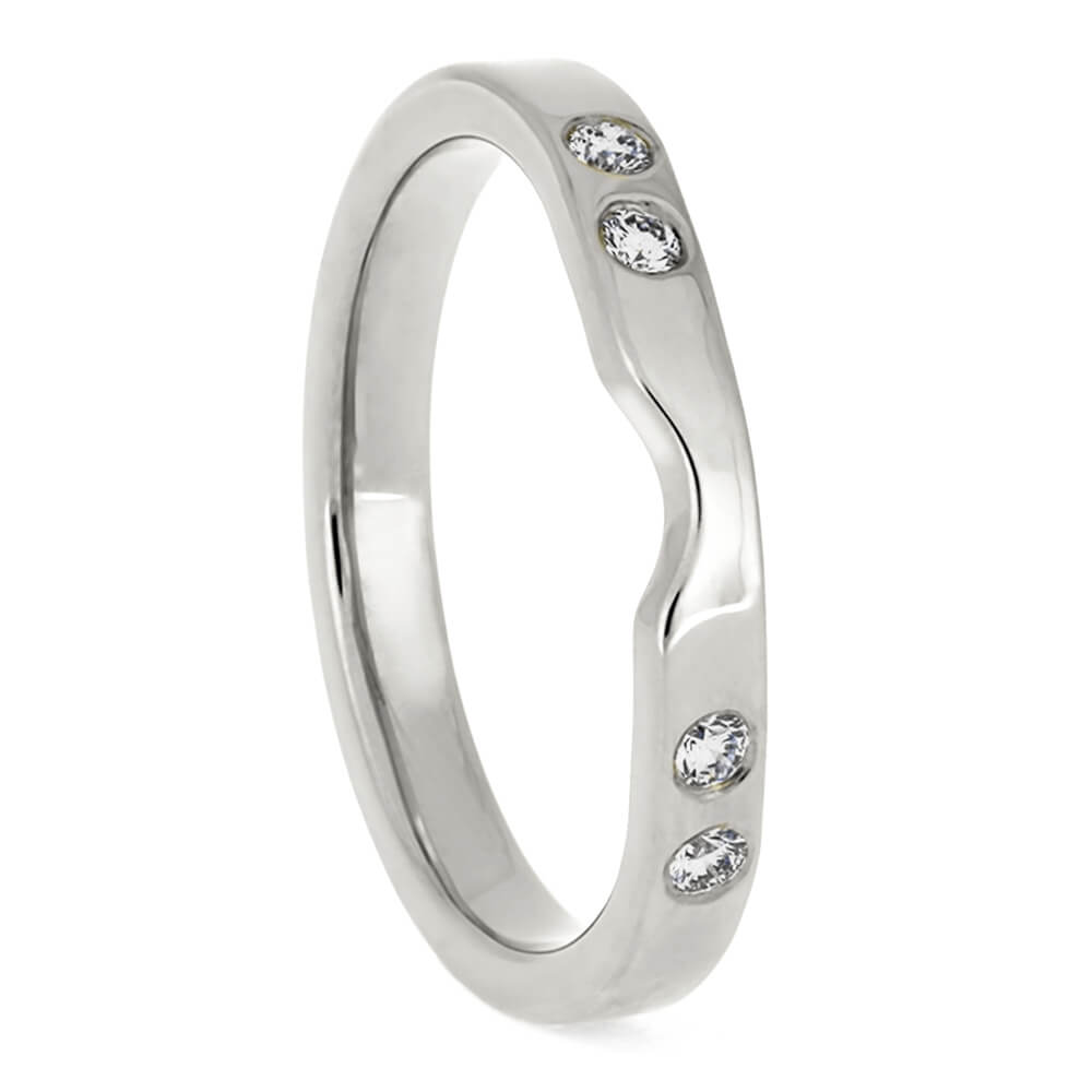 Platinum Women's Wedding Band With Diamonds-3885PT - Jewelry by Johan