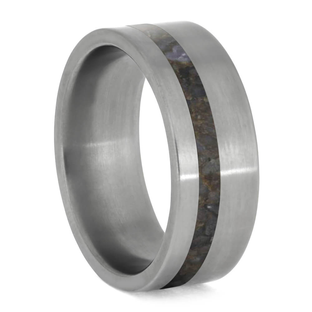 Dinosaur Bone Men's Wedding Band in Matte Titanium-4058 - Jewelry by Johan