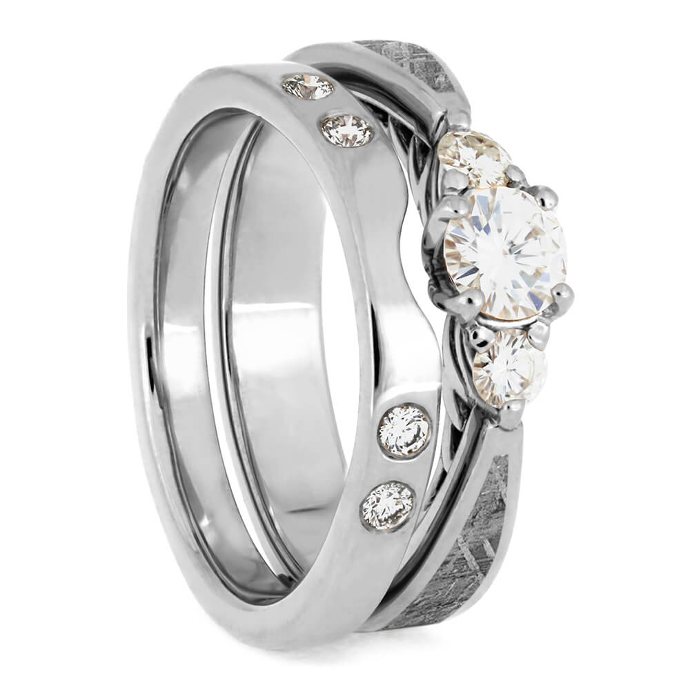 Platinum Bridal Set, Meteorite Engagement Ring With Custom Shadow Band-4069 - Jewelry by Johan