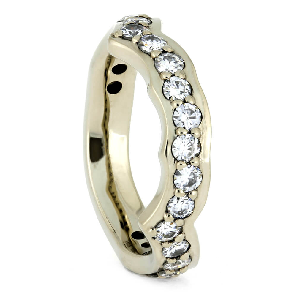 White Gold Shadow Band With Moissanites-4071 - Jewelry by Johan