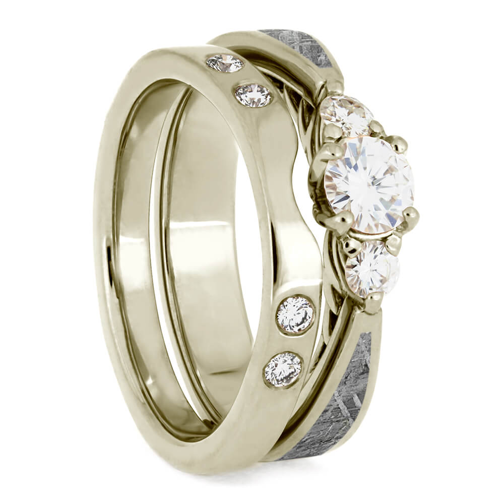 Matching Meteorite Bridal Set, White Gold Engagement Ring With Custom Shadow Band-4072