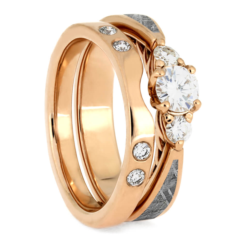 Meteorite Bridal Set, Three Stone Engagement Ring With Rose Gold Shadow Band-4079