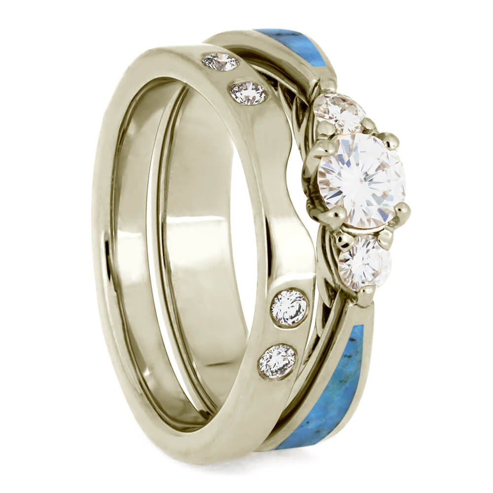Turquoise Bridal Set, White Gold Engagement Ring With Diamond Shadow Band-4084 - Jewelry by Johan