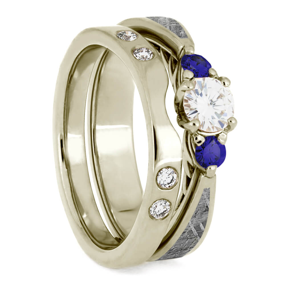 Custom Meteorite Bridal Set, Sapphire Engagement Ring With Matching Shadow Band-4085
