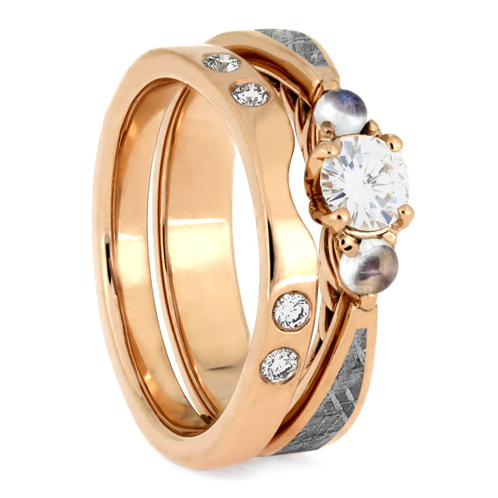 Matching Moonstone Bridal Set, Meteorite Engagement Ring With Rose Gold Shadow Band-4086