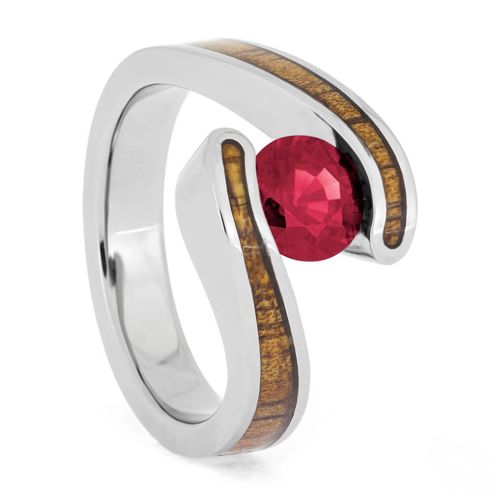 Ruby Engagement Ring, Tension Set Ring With Koa Wood-4089