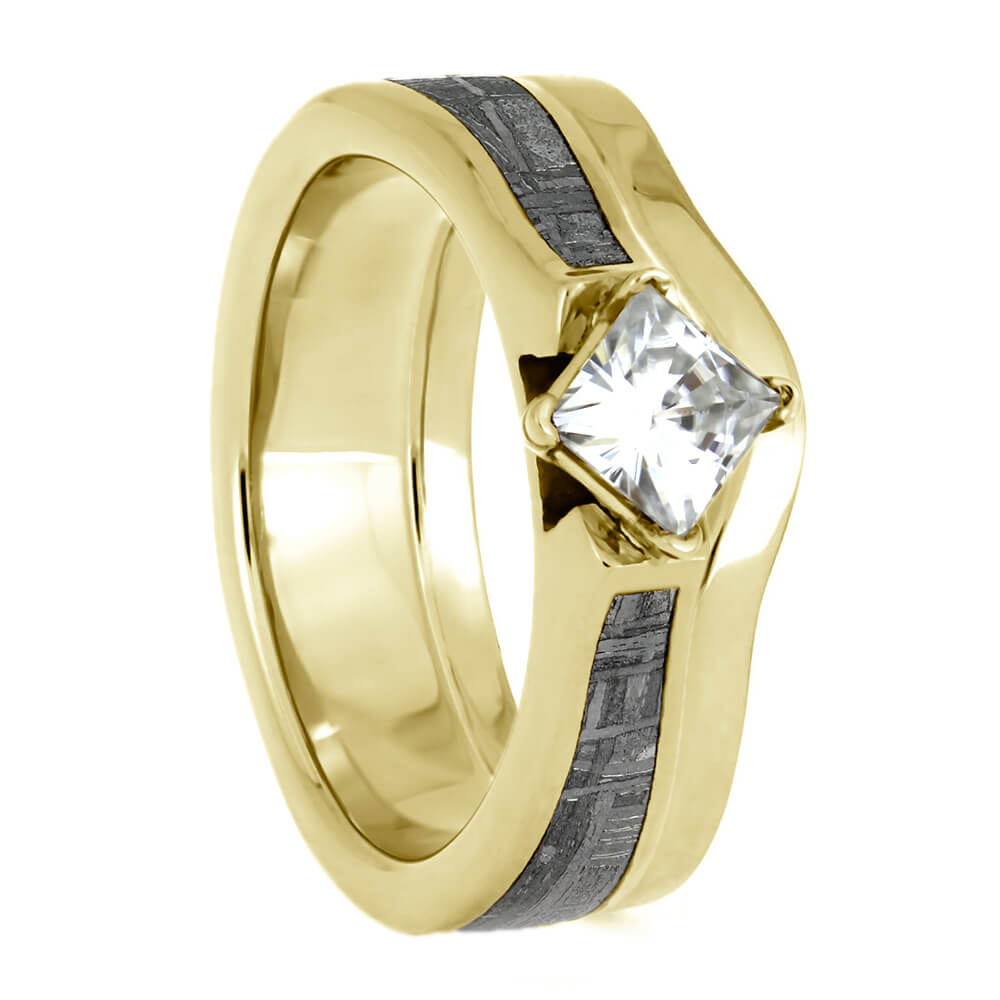 Yellow Gold Bridal Set, Simple Shadow Band With Meteorite Engagement Ring-4146 - Jewelry by Johan