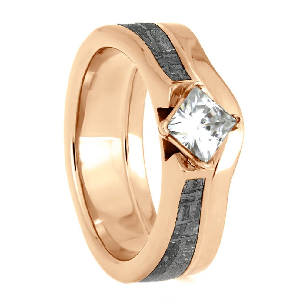 Gibeon Meteorite Bridal Set, Simple Shadow Band With Rose Gold Engagement Ring-4149 - Jewelry by Johan