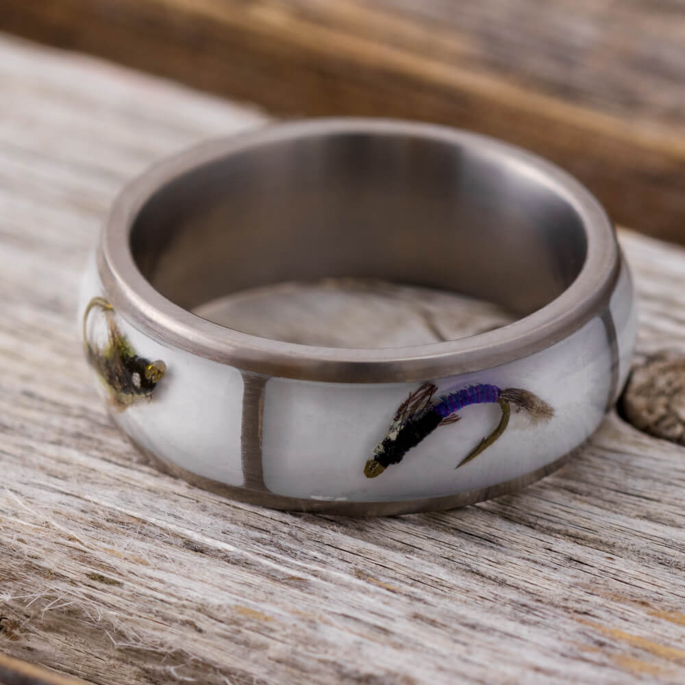 Fishing Lure Ring With White Enamel In Titanium-4153 - Jewelry by Johan