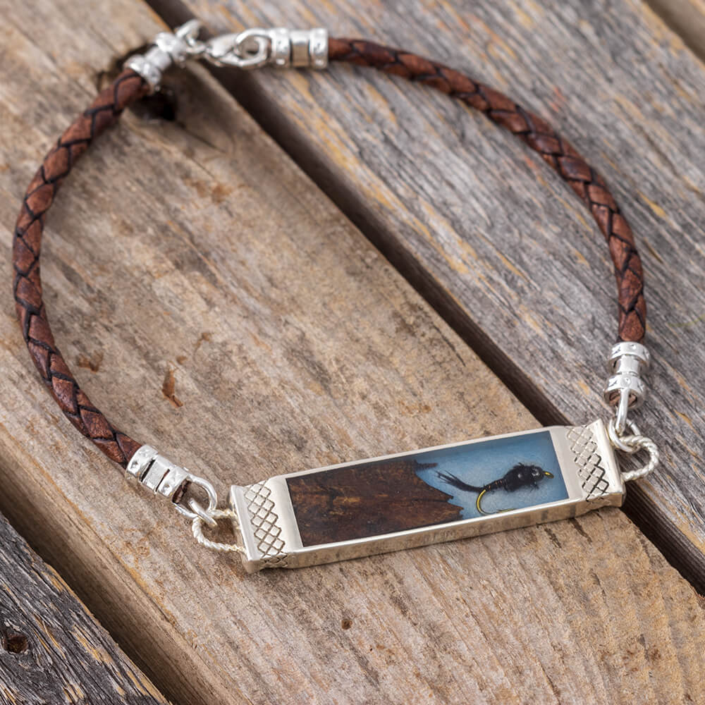 "In Stock Fly Fishing Bracelet With Brown Leather Cord, 8.5""-RS11004 - Jewelry by Johan"