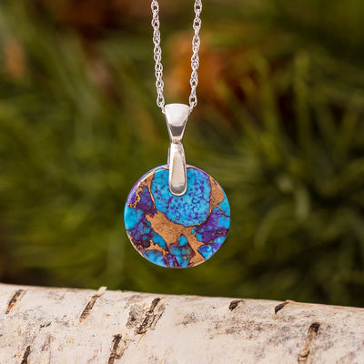 Lava Mosaic Turquoise Necklace with Sterling Silver Bail and Chain-4188 - Jewelry by Johan