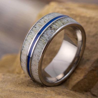 Blue Deer Antler Wedding Ring