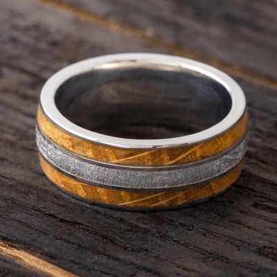 Whiskey Wood Ring With Genuine Meteorite And Titanium-4245 - Jewelry by Johan