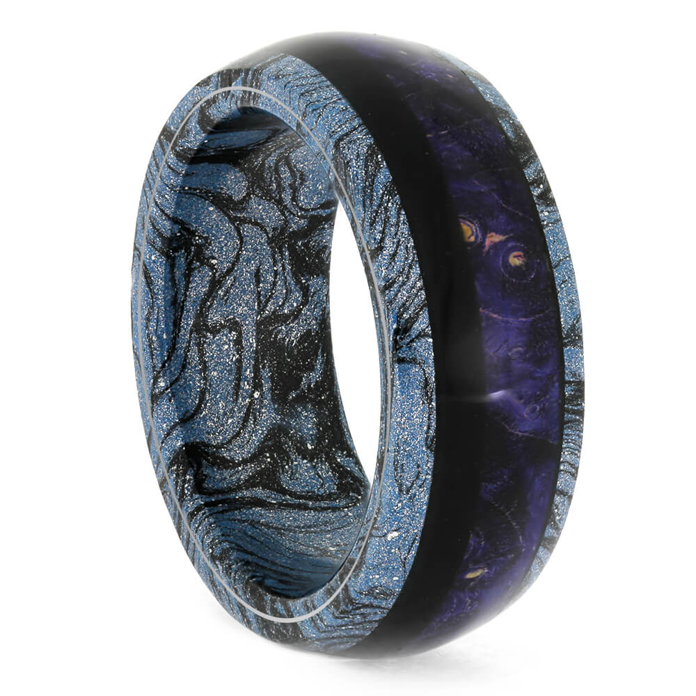 Starry Night Mokume Ring, Blue And Black Wood Wedding Band-4250 - Jewelry by Johan