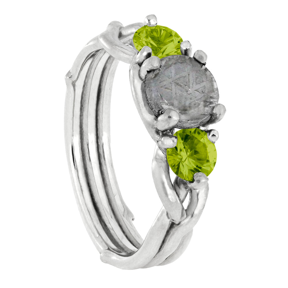 Three Stone Engagement Ring With Meteorite, Peridot Branch Ring-4257 - Jewelry by Johan