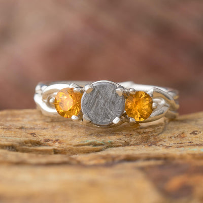 Citrine Engagement Ring With Meteorite And Silver Branch Design-4258 - Jewelry by Johan
