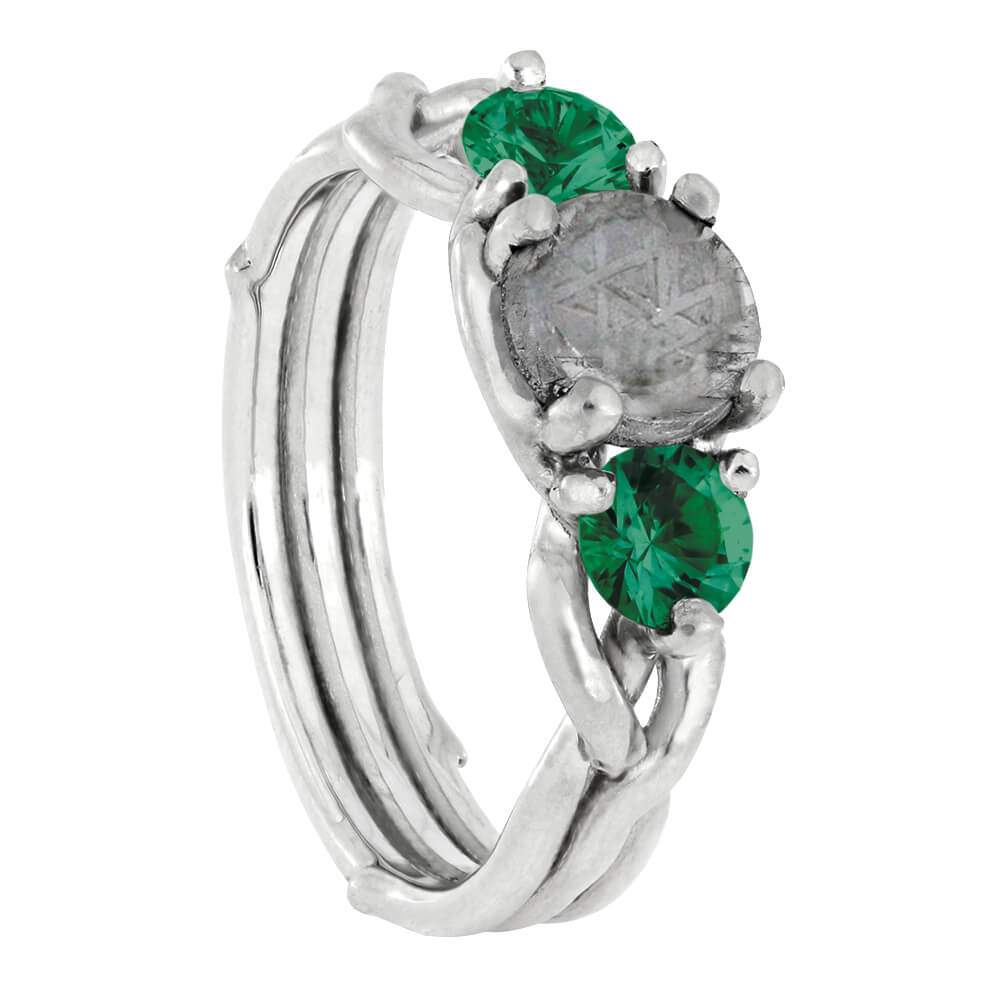 Nature Ring With Meteorite And Emerald, Silver Branch Engagement Ring-4260 - Jewelry by Johan