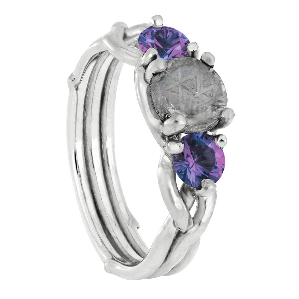 Alexandrite Engagement Ring, Sterling Silver Meteorite Ring-4261 - Jewelry by Johan