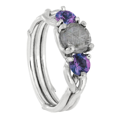 Meteorite Stone Engagement Ring with Alexandrite Accent Stones