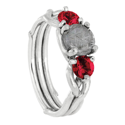 Meteorite Stone Engagement Ring with Ruby Accent Stones