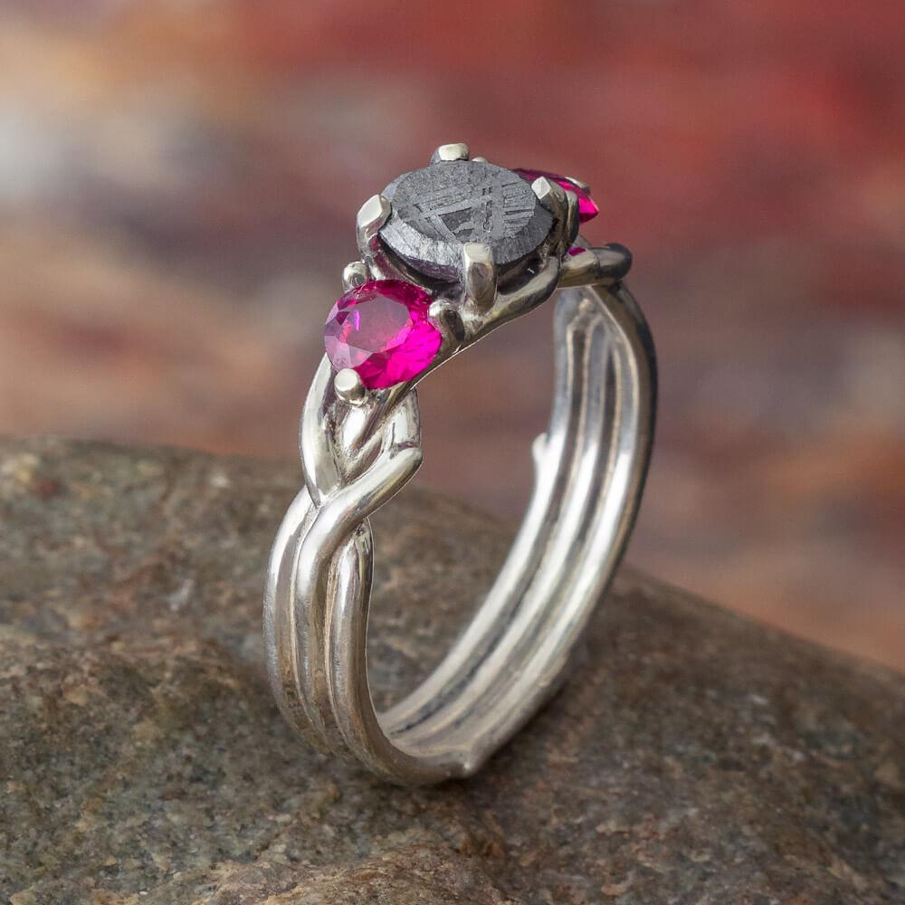 Ruby & Meteorite Stone Engagement Ring, In Stock-SIG3049 - Jewelry by Johan