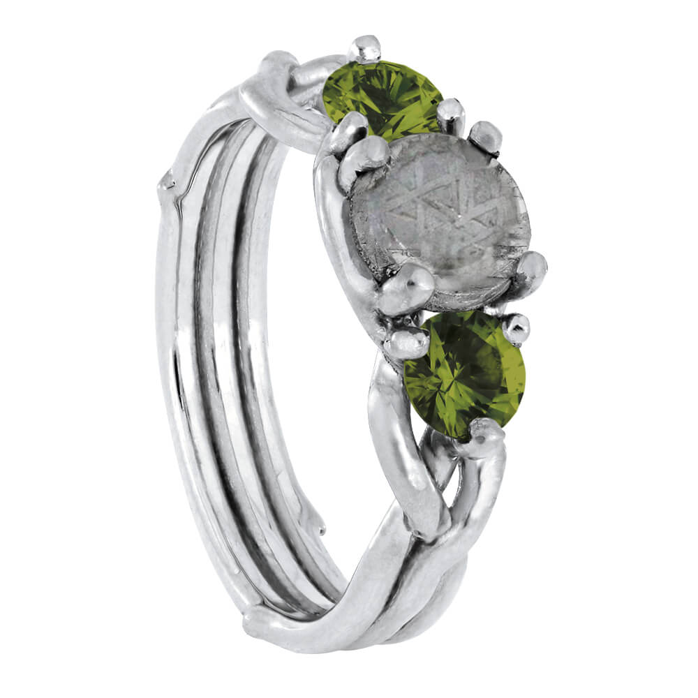 Platinum Engagement Ring with Meteorite and Moldavite, Alternative Ring