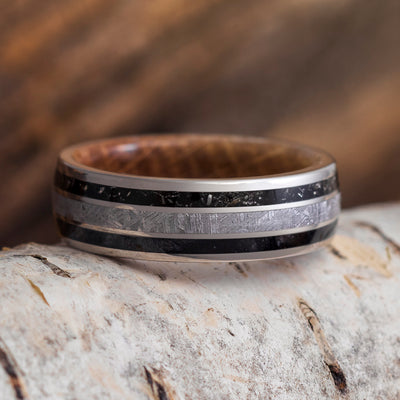 Meteorite Men's Wedding Ring With Whiskey Oak And Black Stardust™-4266 - Jewelry by Johan