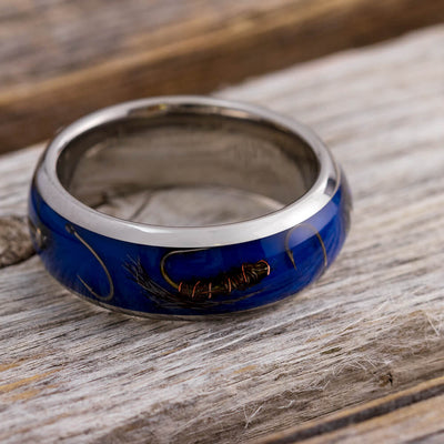 Fly Fishing Ring With Blue Enamel In Titanium-4268 - Jewelry by Johan