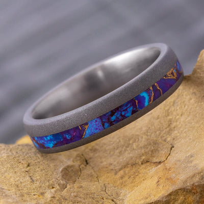 Lava Turquoise Wedding Band in Sandblasted Titanium-4288 - Jewelry by Johan