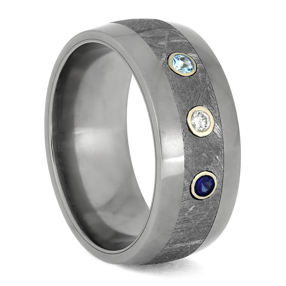 Meteorite Wedding Band With Sapphire, Diamond, And Topaz-4303
