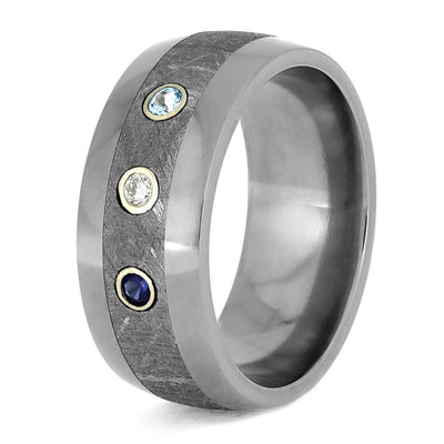 Meteorite Wedding Band With Sapphire, Diamond, And Topaz-4303 - Jewelry by Johan