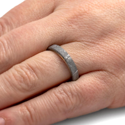 Thin Meteorite Women's Wedding Band With Whiskey Barrel Wood Sleeve-4304 - Jewelry by Johan