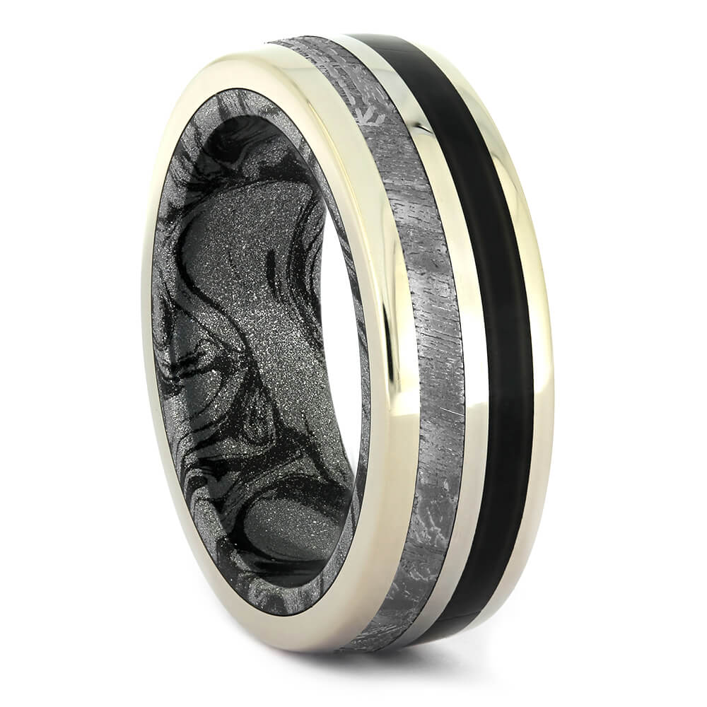 Black Jade Wedding Band With Meteorite And Mokume Gane-4311 - Jewelry by Johan