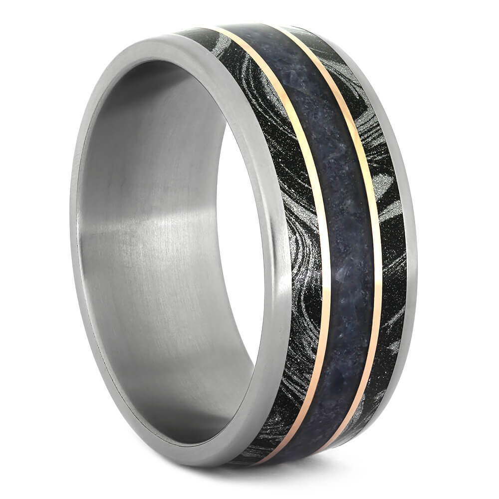 Crushed Sapphire Wedding Band With Mokume Gane-4313