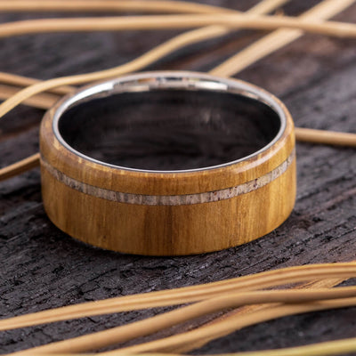 Men's Wedding Band with Deer Antler and Oak Wood-4333 - Jewelry by Johan
