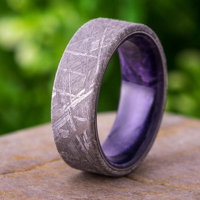 Men's Meteorite Wedding Band with Purple Box Elder Burl Sleeve-4354 - Jewelry by Johan