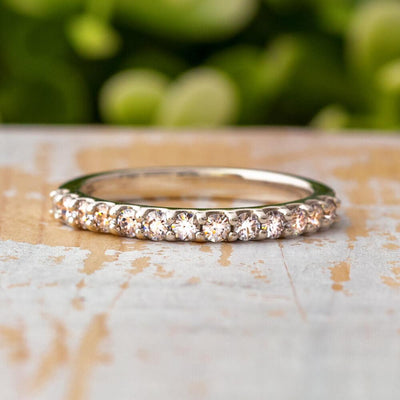 Platinum Half Eternity Women's Wedding Band-4361PT - Jewelry by Johan
