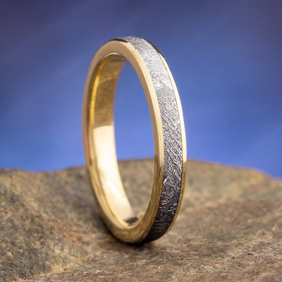 Narrow Meteorite Ring in Yellow Gold for Women-4380YG - Jewelry by Johan