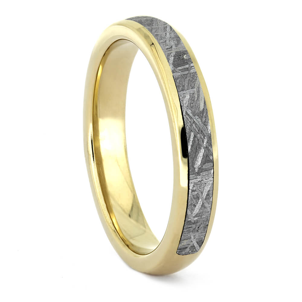 Half Meteorite Wedding Band With Yellow Gold-4382YG - Jewelry by Johan