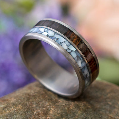 Pearl and Wood Wedding Band for Men