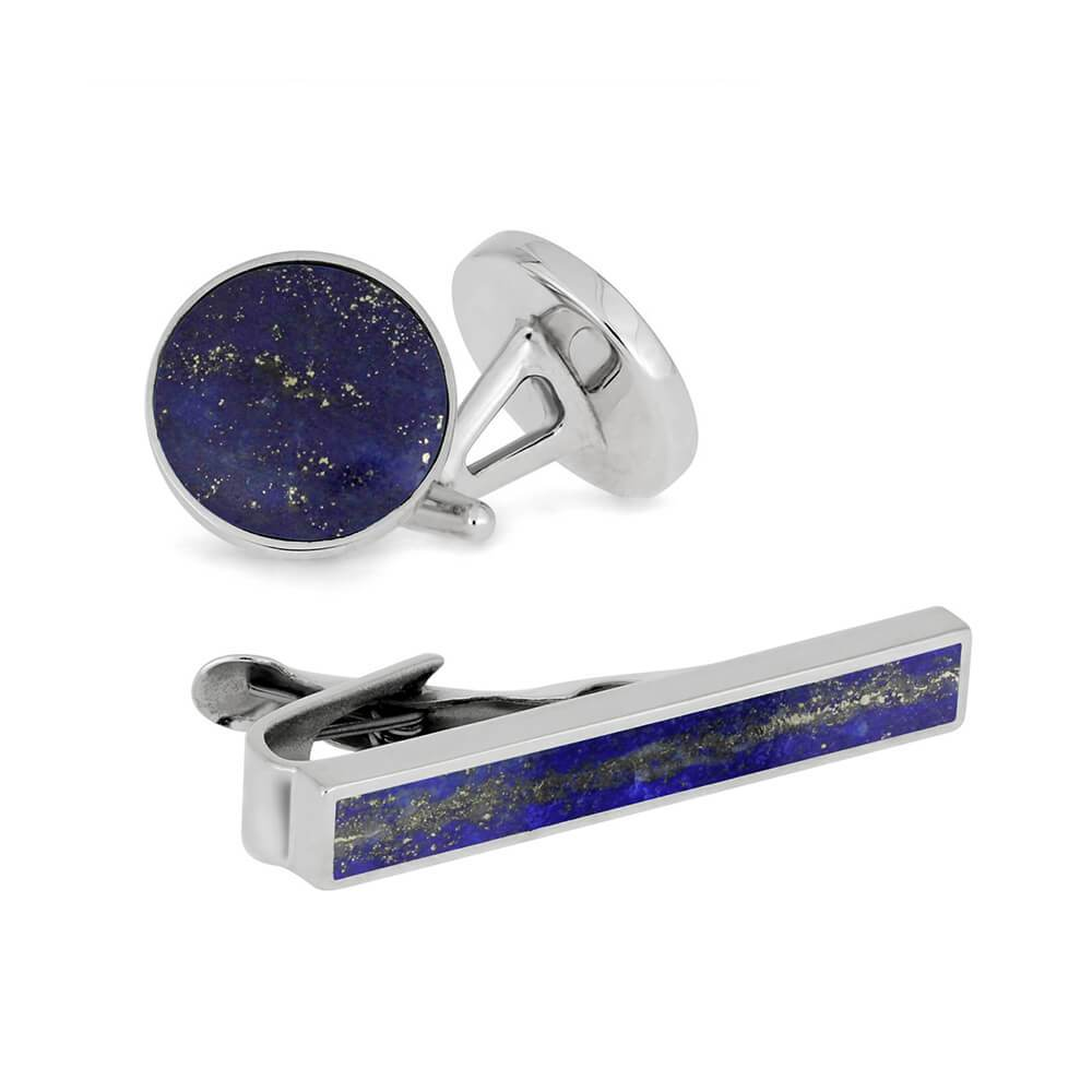 Something Blue Gift Set - Lapis Lazuli Cuff Links And Tie Clip Bundle-4490 - Jewelry by Johan
