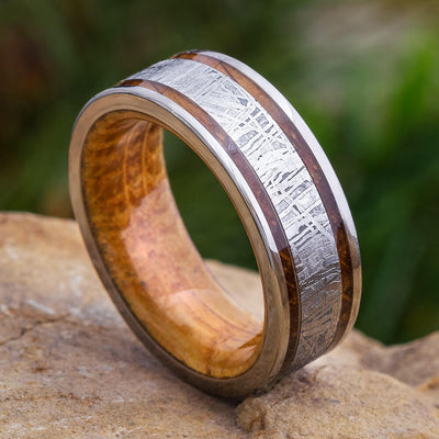 Meteorite Ring with Whiskey Wood for Men