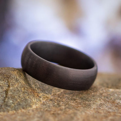 Round Black Wedding Band for Men