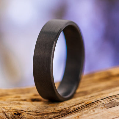 Brushed Black Zirconium Men's Ring with Flat Profile-4521-BR - Jewelry by Johan