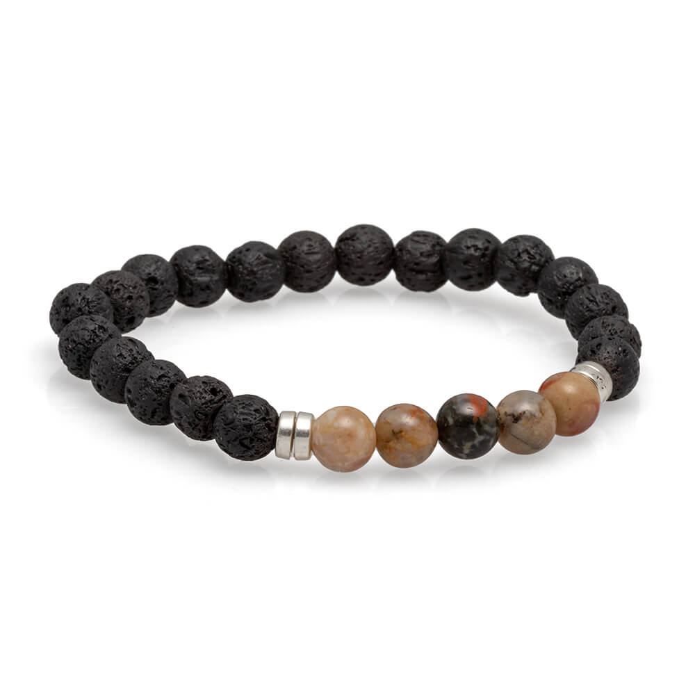 Fossilized Coprolite and Lava Bead Bracelet, In Stock-4523 - Jewelry by Johan