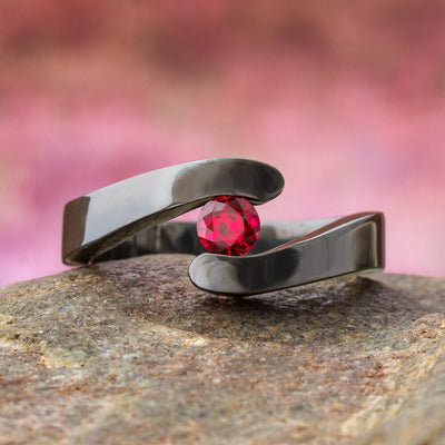 Black Engagement Ring with Red Ruby