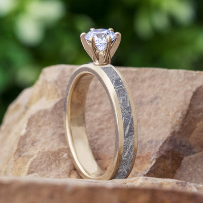 Solitaire Moissanite Engagement Ring with Meteorite in White Gold-4540WG - Jewelry by Johan