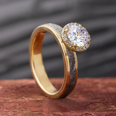 Round Cut Halo Engagement Ring with Meteorite in Yellow Gold-4541YG - Jewelry by Johan
