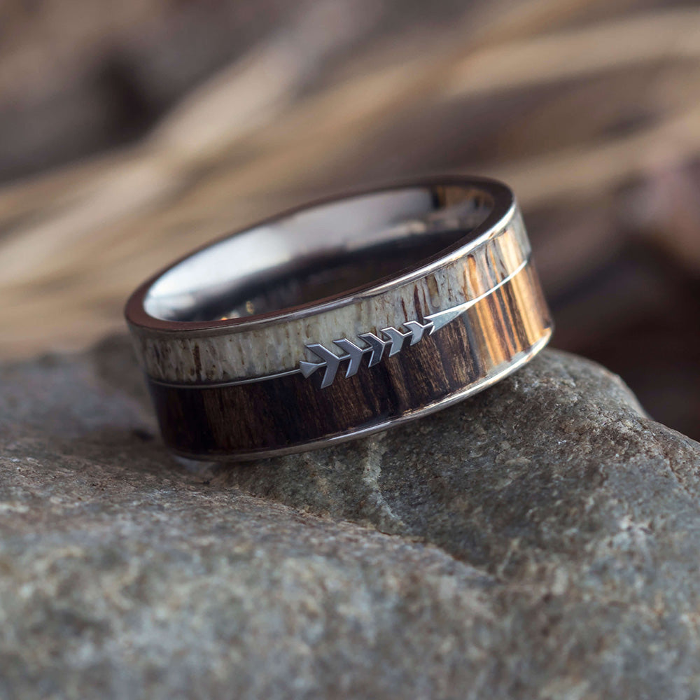 Antler & Ironwood Ring With Silver Arrow, In Stock-SIG3020 - Jewelry by Johan