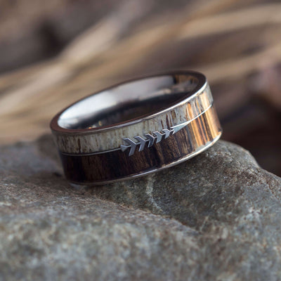 Deer Antler Ring With Silver Arrow, Ironwood Wedding Band-SIG3020 - Jewelry by Johan